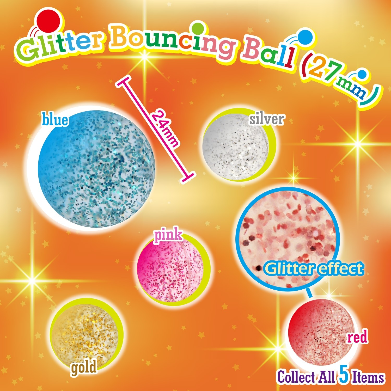 Glitter Bouncing Ball  27mm