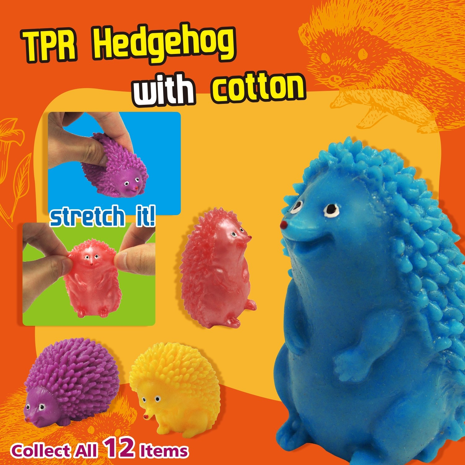 TPR Hedgehog with cotton