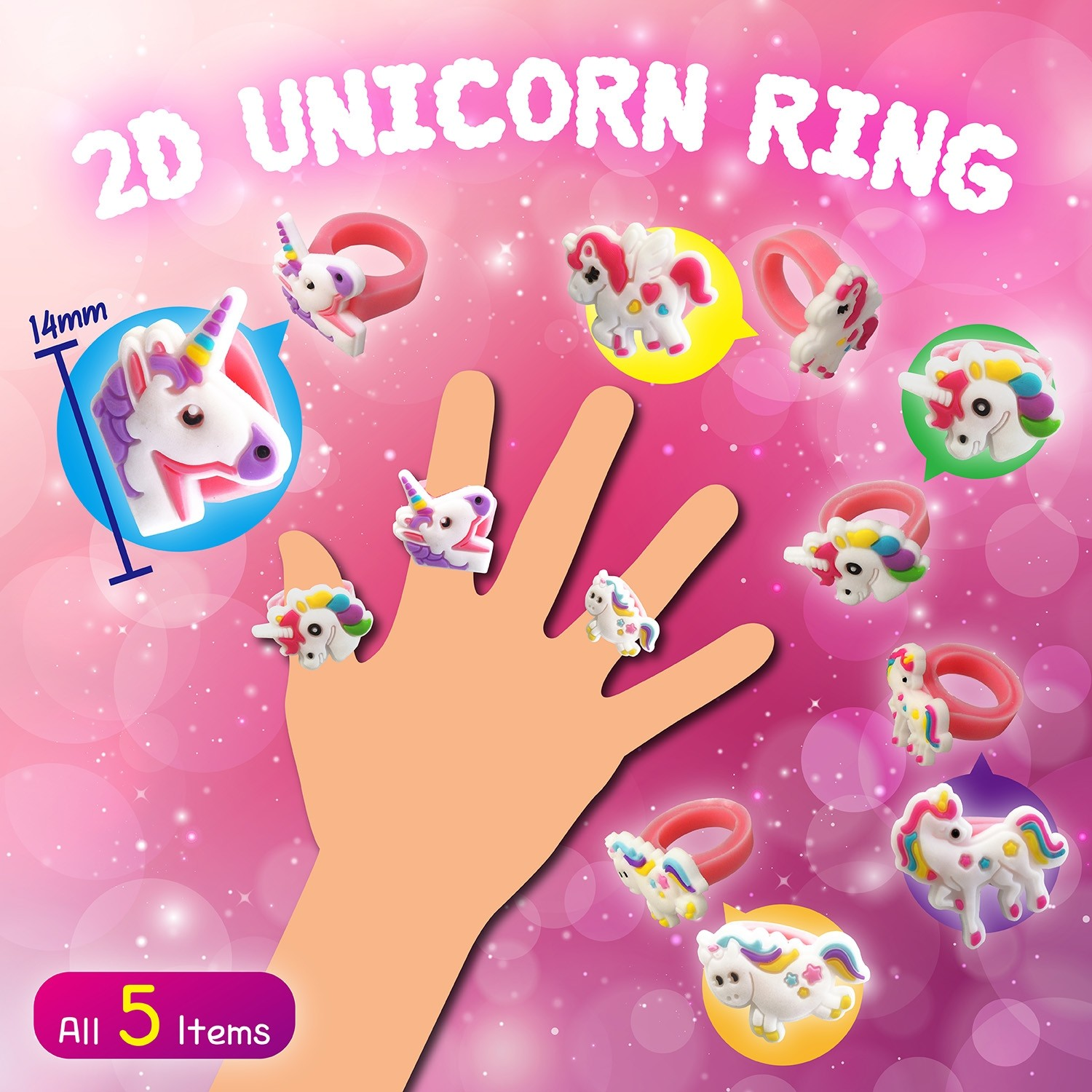 2D Unicorn Ring (14mm)