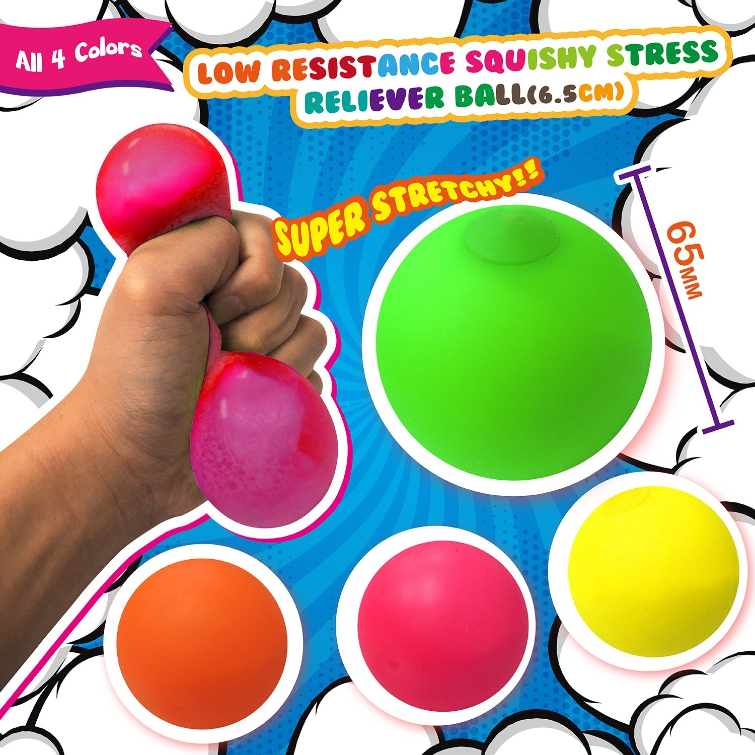 Low Resistance Squishy Stress Reliever Ball (6.5cm)
