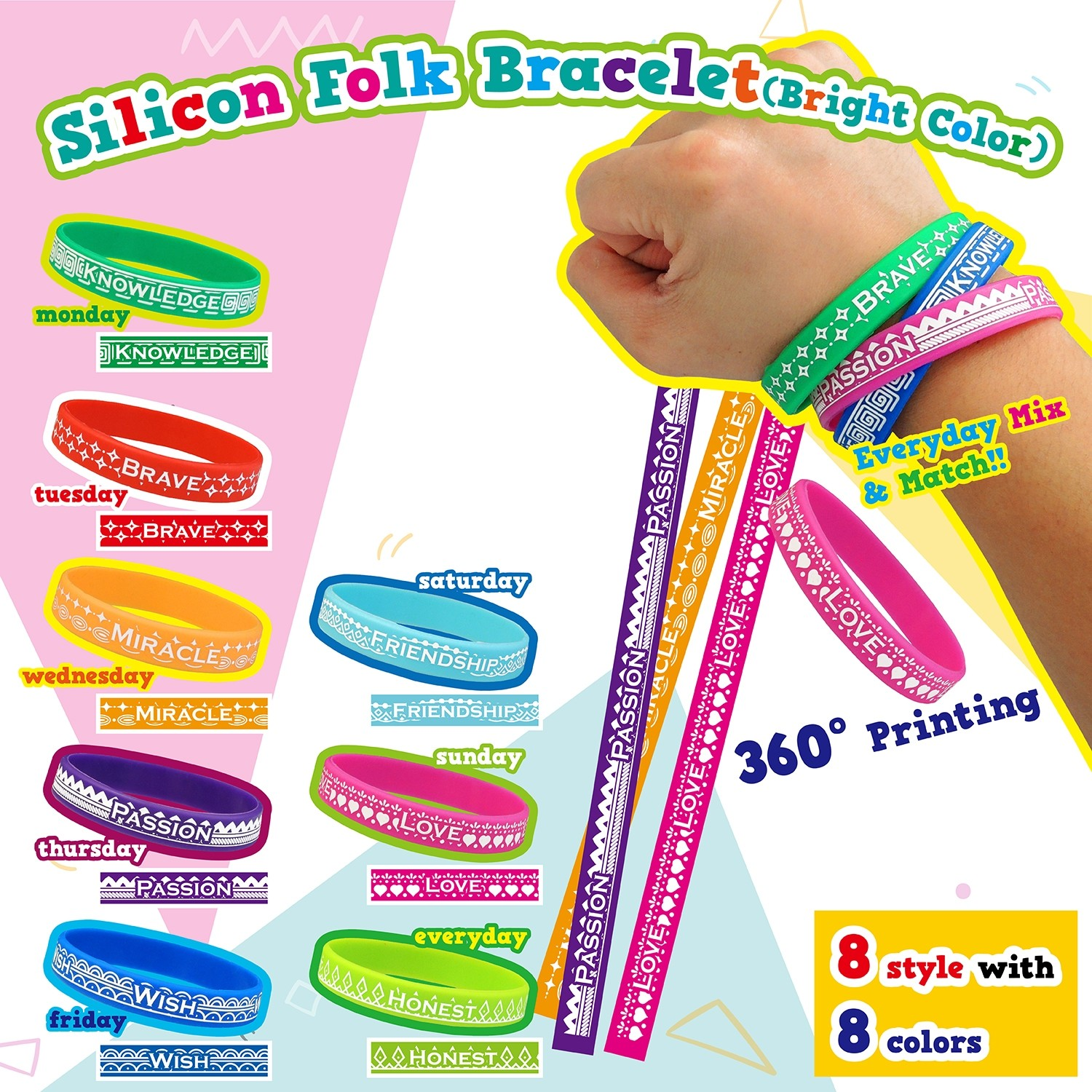Silicon Folk Bracelet - Bright Color