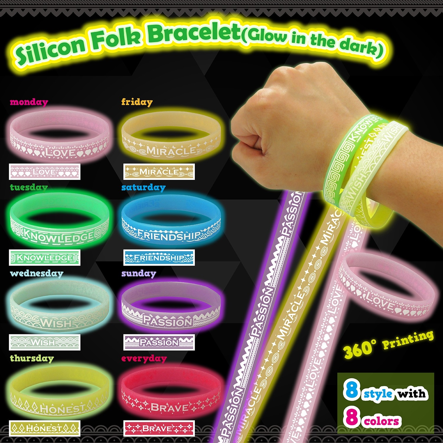 Silicon Folk Bracelet - Glow in the dark