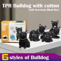 TPR Bulldog with cotton With Keychain Blind Box