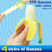 TPR baby banana with cotton Blister Set