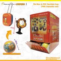 Garfield Tin Box & PVC Suction Cup (100 Capsules Set)