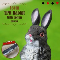 15cm TPR Rabbit With Cotton - black
