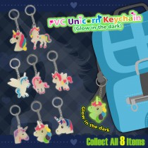 PVC Unicorn Keychain (Glow in the dark)