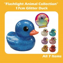 """Flashlight Animal Collection"" 17cm Glitter Duck"
