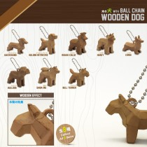 Geometric Dog (Wood Color Spray Painting) with Ball Chain